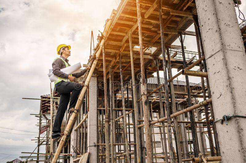 Professional engineer worker at the house building construction royalty free stock photography