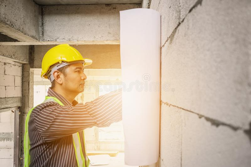 Professional engineer worker at the house building construction stock photo