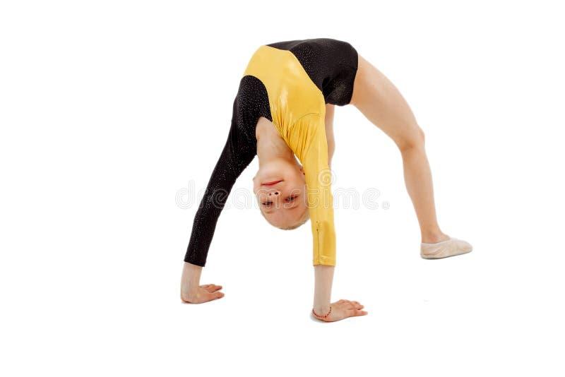 Young professional gymnast girl. Gymnastics, acro royalty free stock image