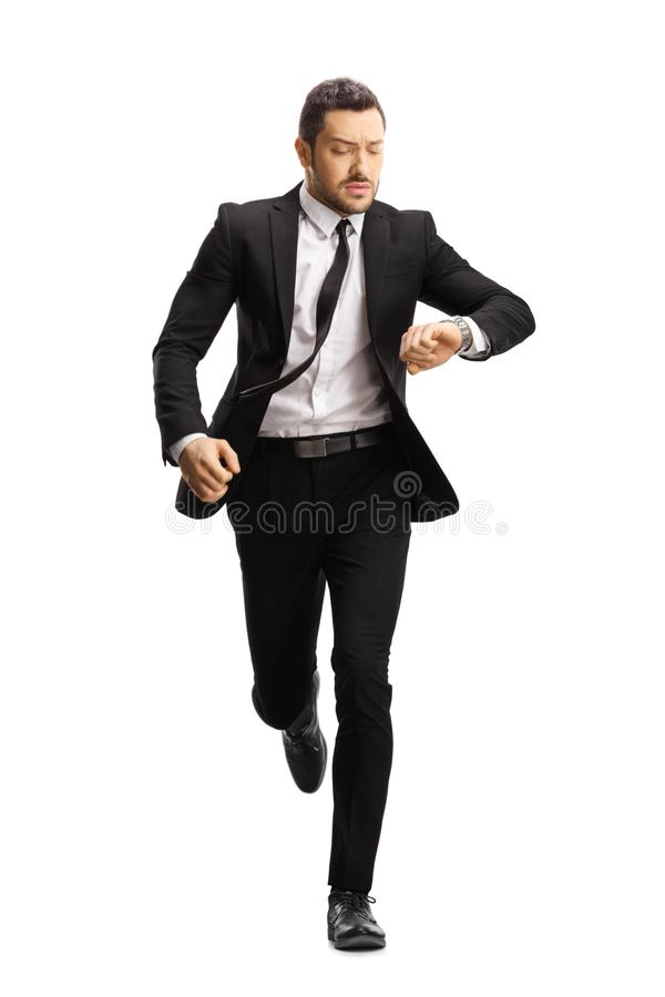 Free Young Professional Man In A Suit Running Late Royalty Free Stock Photos - 156089308