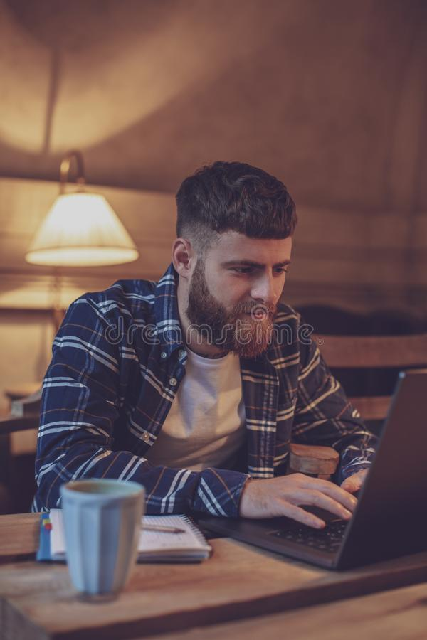 Young professional surfing the Internet on his laptop in a cafe royalty free stock photos