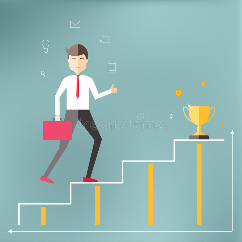 Young professional up the career ladder. royalty free illustration