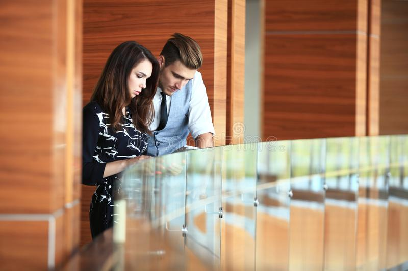 Young professionals work in modern office.Business crew working with startup. stock image