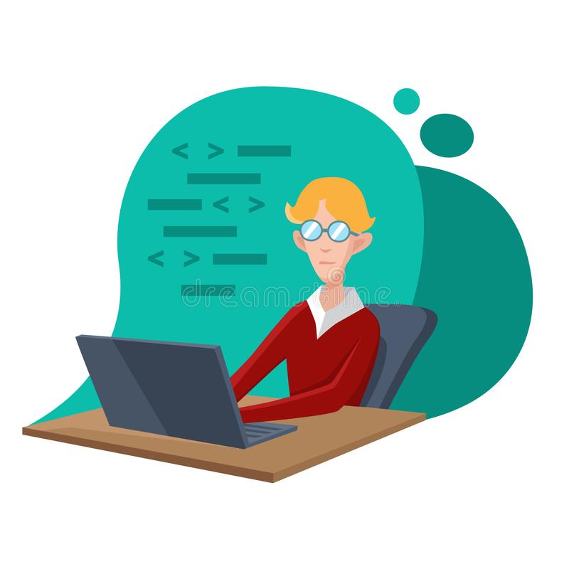 The young programmer is working on a laptop. Coding, creation of new websites, software or applications. Web development. Business concept. Flat vector vector illustration