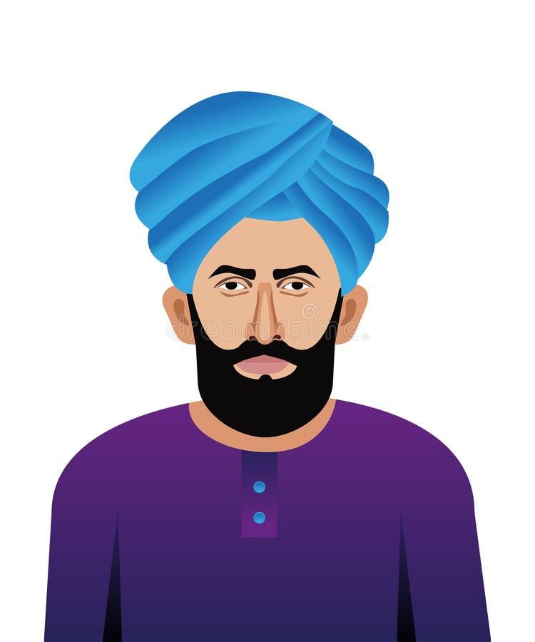 Young Punjabi man close up vector illustration. Young Punjabi man with turban close up vector illustration vector illustration