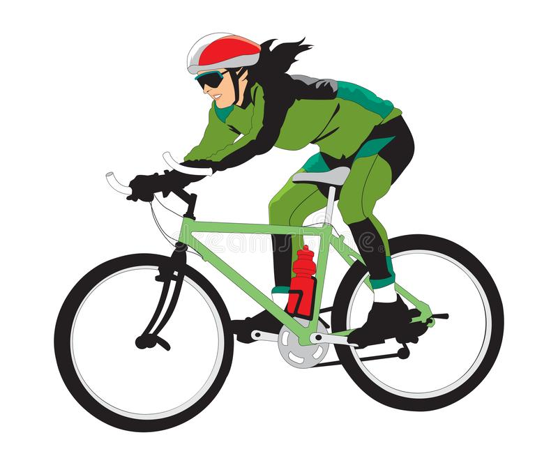 Young racing bicyclist man with bike isolated on white background in flat style royalty free illustration