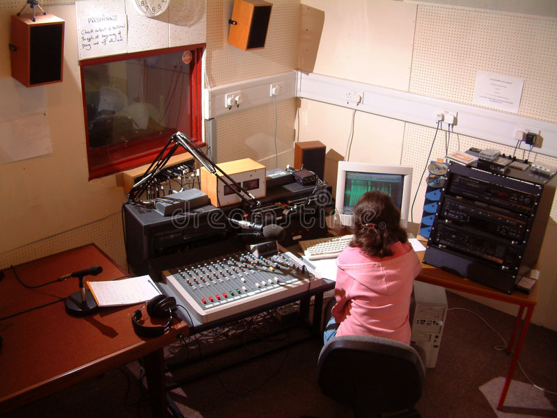 Young radio studio operator royalty free stock images