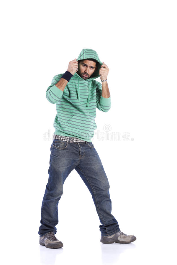 Young rapper. Posing isolated on white (selective focus stock photos