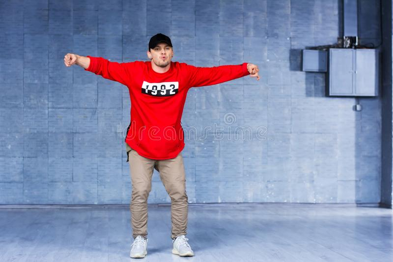 Young rapper is dancing. stock image