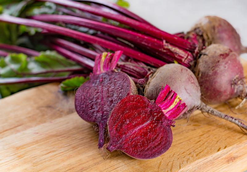 Young raw red beets roots with leaves. New harvest royalty free stock image
