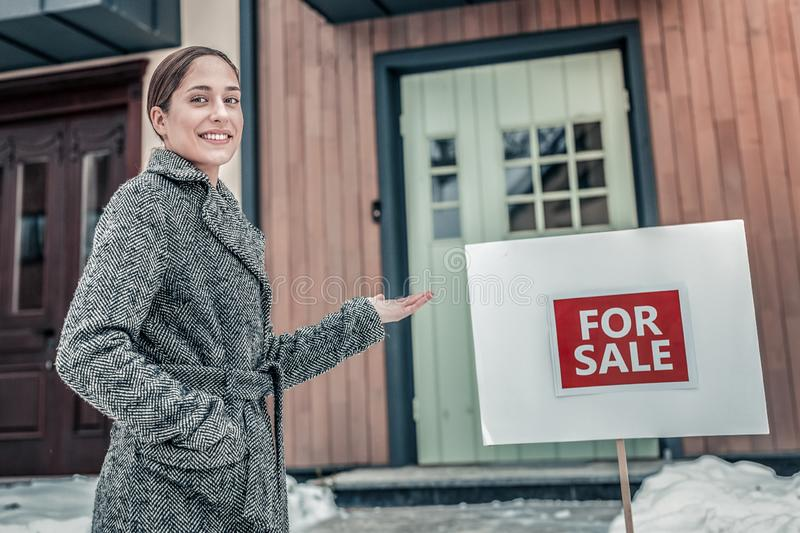 Estate agent being ready for selling a house royalty free stock image