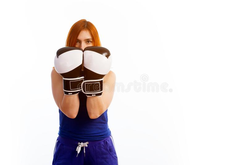 Young red-haired woman royalty free stock photography