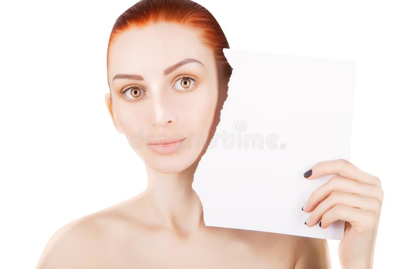 Young red haired woman with white paper, white background stock images