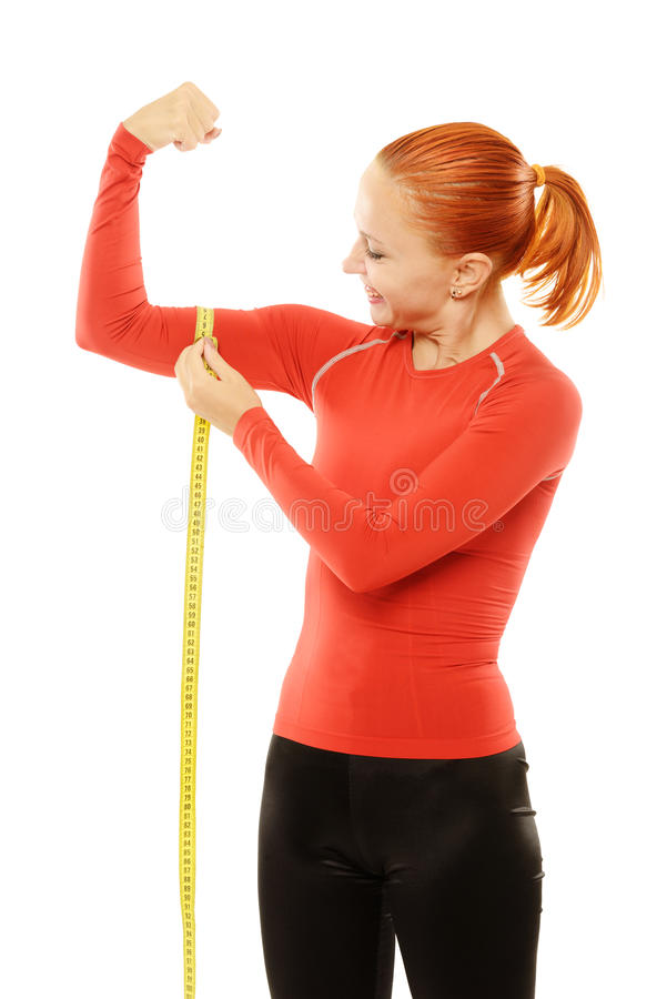 Download Young Red Woman With Measuring Tape Stock Photo - Image: 28921436