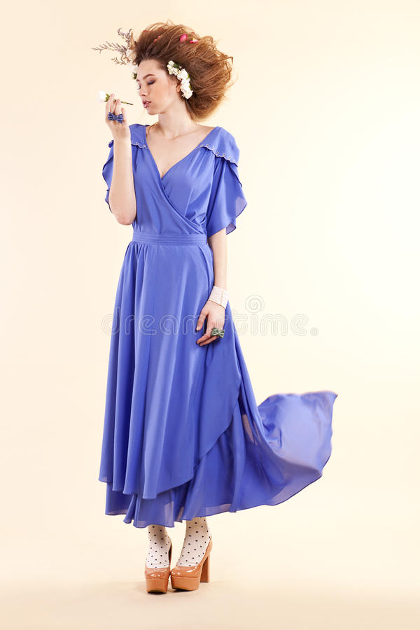 Download Young Redharied Woman Wearing Purple Dress Stock Image - Image: 26933365
