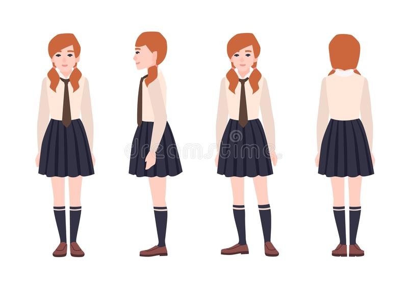 Young redhead girl dressed in school uniform. Female student or pupil wearing formal clothes. Flat cartoon character royalty free illustration