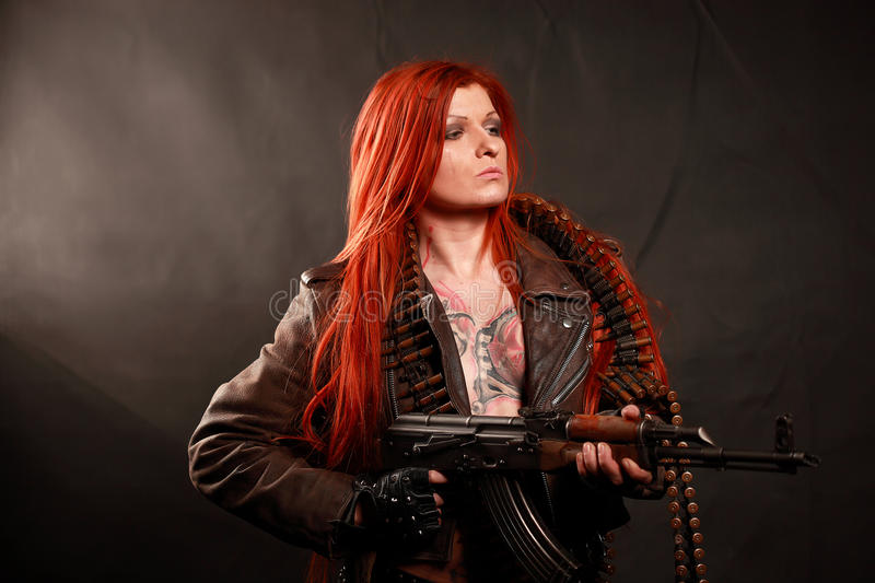 Young redhead military girl royalty free stock photos