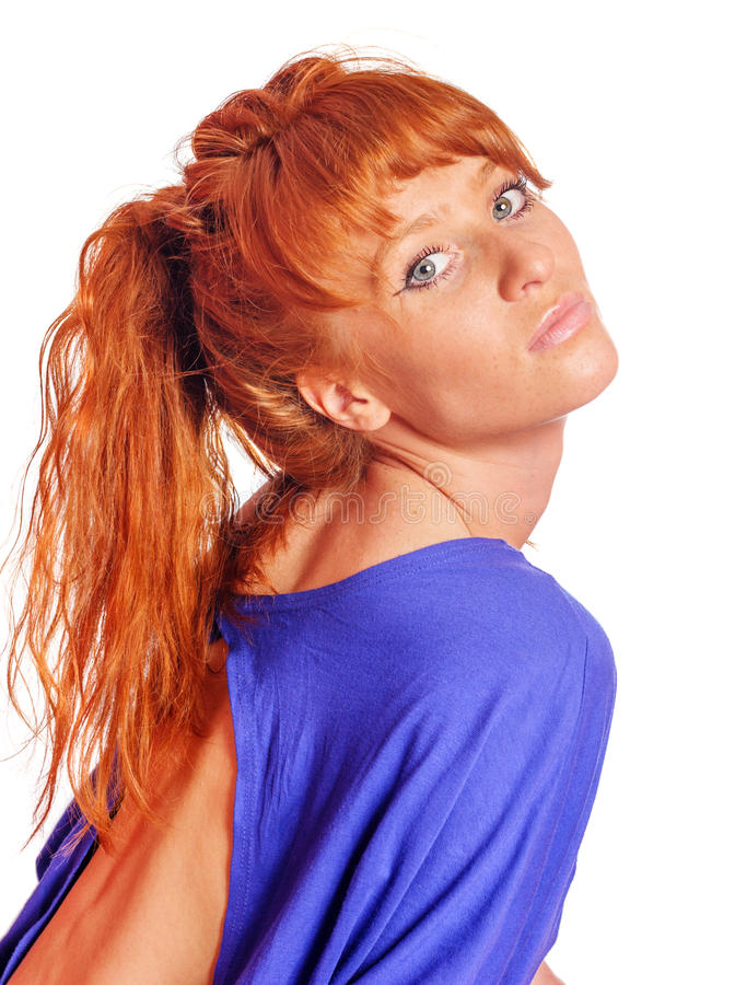Young redhead woman royalty free stock image
