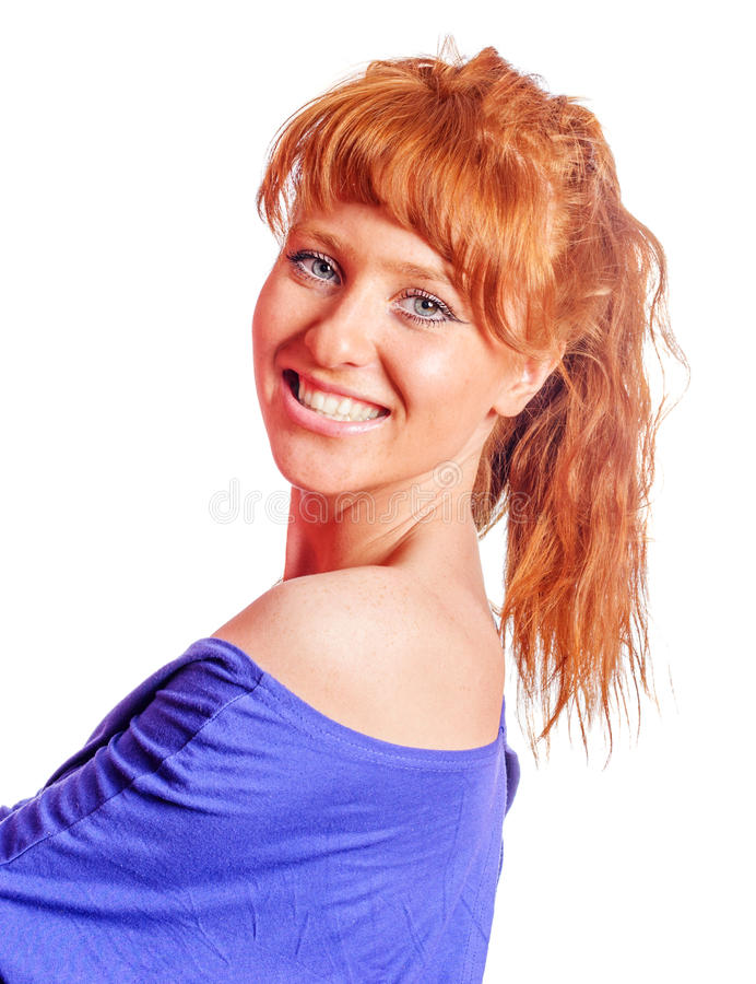 Young redhead woman royalty free stock images