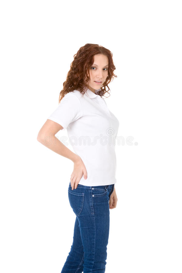 Download Young Redhead Woman In White Polo Shirt And Jeans Stock Image - Image: 16028141