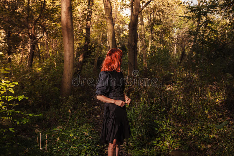 Young redhead woman in the woods royalty free stock images