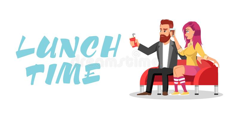 Young redheaded bearded man and girl with pink hair in knee highs sitting on sofa and drinking beverages. vector illustration