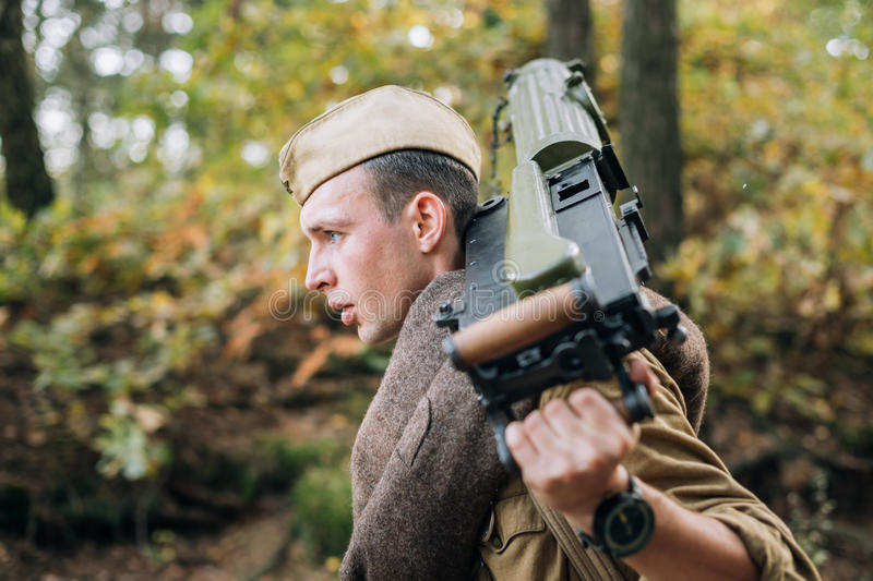 Young Reenactor Man Dressed As Russian Soviet Red Army Infantry. Dyatlovichi, Belarus - October 1, 2016: Young Reenactor Man Dressed As Russian Soviet Red Army stock photography