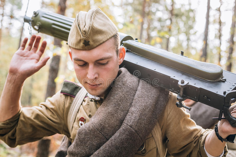 Young Reenactor Man Dressed As Russian Soviet Red Army Infantry. Dyatlovichi, Belarus - October 1, 2016: Young Reenactor Man Dressed As Russian Soviet Red Army royalty free stock photo