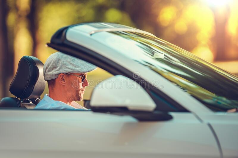 Young Retired Men Road Trip stock photo