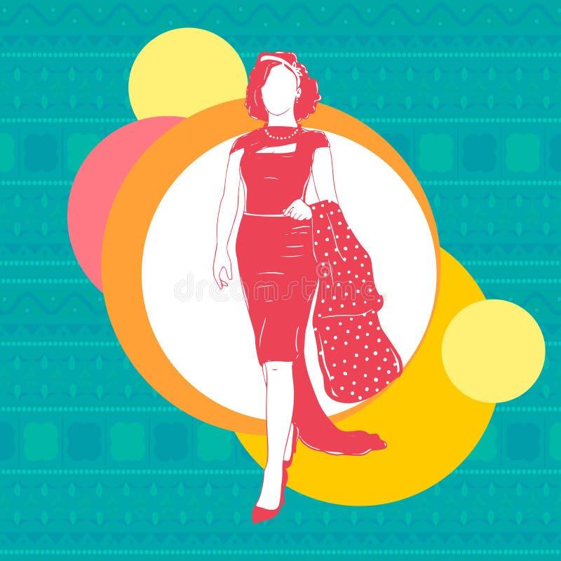 Young retro model girl on stylish background. Illustration of a retro young model girl on colorful stylish background vector illustration