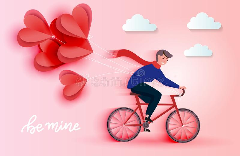 Young riding bicycle and holding red heart paper cut balloons. Love romantic card concept. Happy Valentine`s Day. Wallpaper, poster. Vector illustration vector illustration
