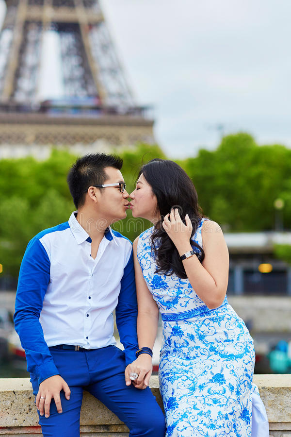 Young romantic Asian couple in Paris, France stock image