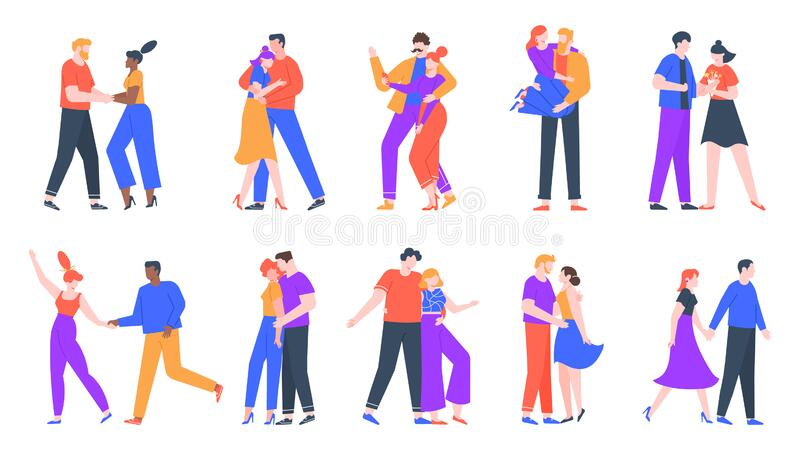 Young romantic couples in love. Happy boyfriend and girlfriend romantic date. Dancing, taking selfies and decided to get royalty free illustration