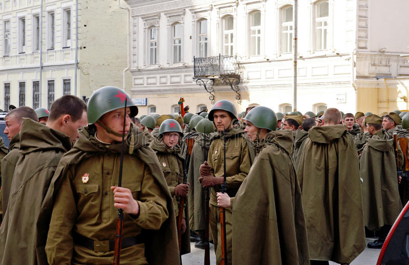 Young Russian soldiers in the World War II uniform royalty free stock image