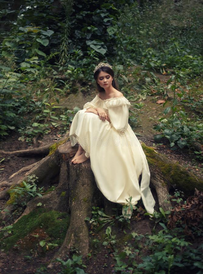 A young, sad princess with very long hair sits on a large stump of an old tree and waits for her prince. The girl has a. Vintage dress and a diadem. Artistic stock photo