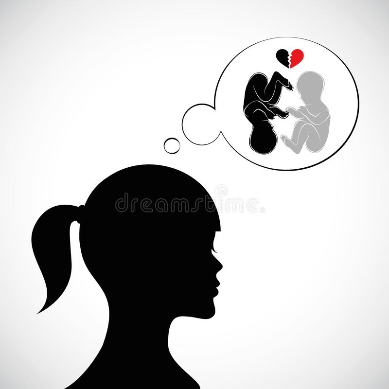 Young sad woman mourns for deceased twin. Vector illustration EPS10 stock illustration