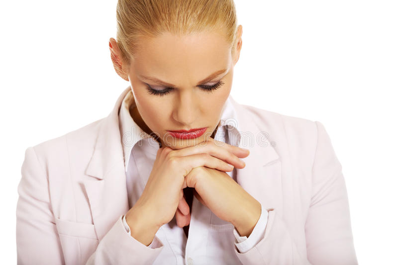 Young sad and worried business woman stock image