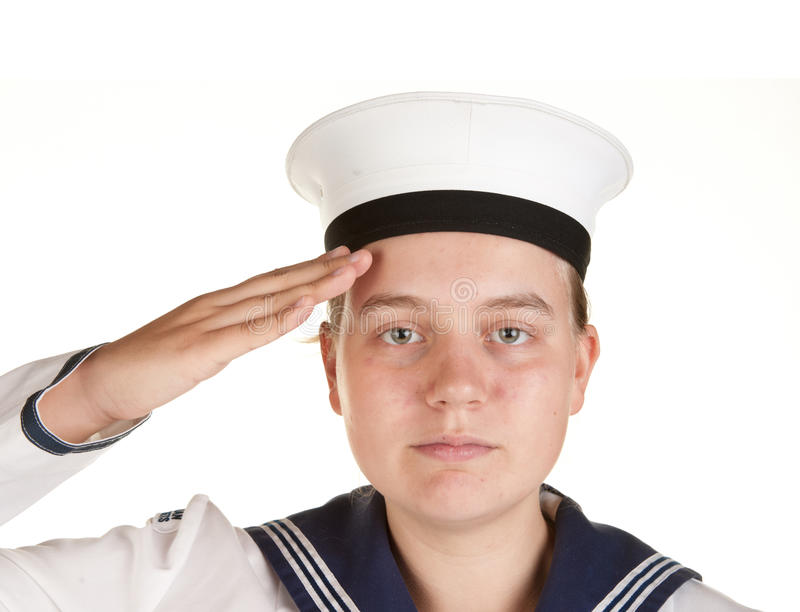 Download Young Sailor Saluting Isolated White Background Stock Image - Image: 13066407