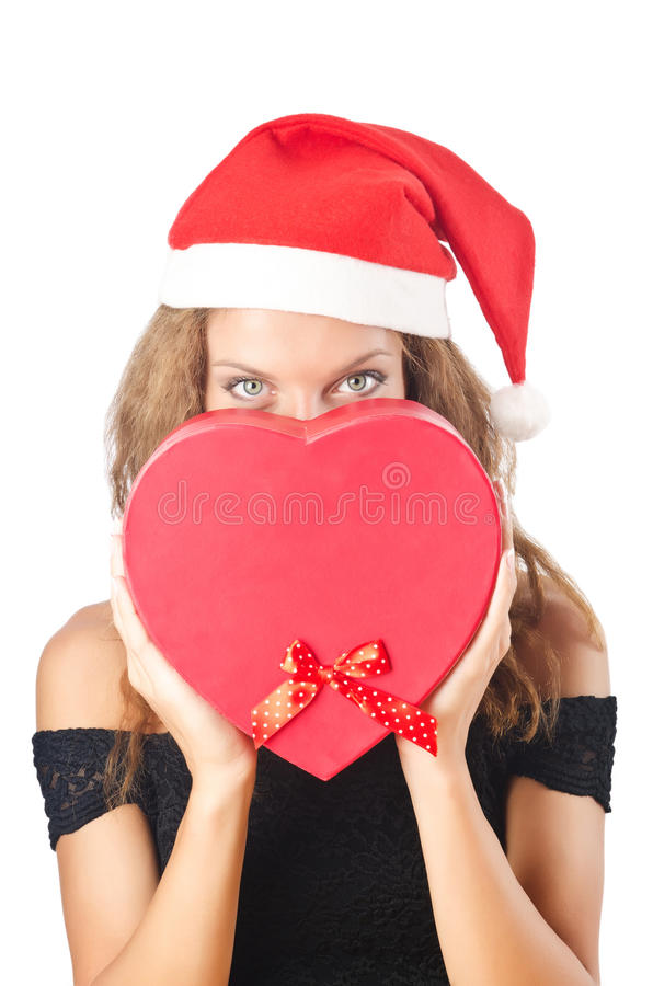 Download Young santa with giftbox stock image. Image of costume - 26842005