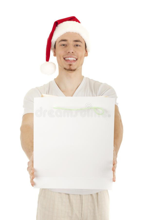 Young Santa with white bag stock images