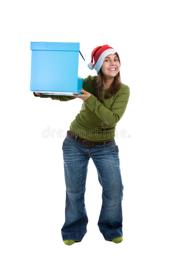 Download Young Santa Woman Holding Giant Blue Present Box Stock Image - Image: 6870205