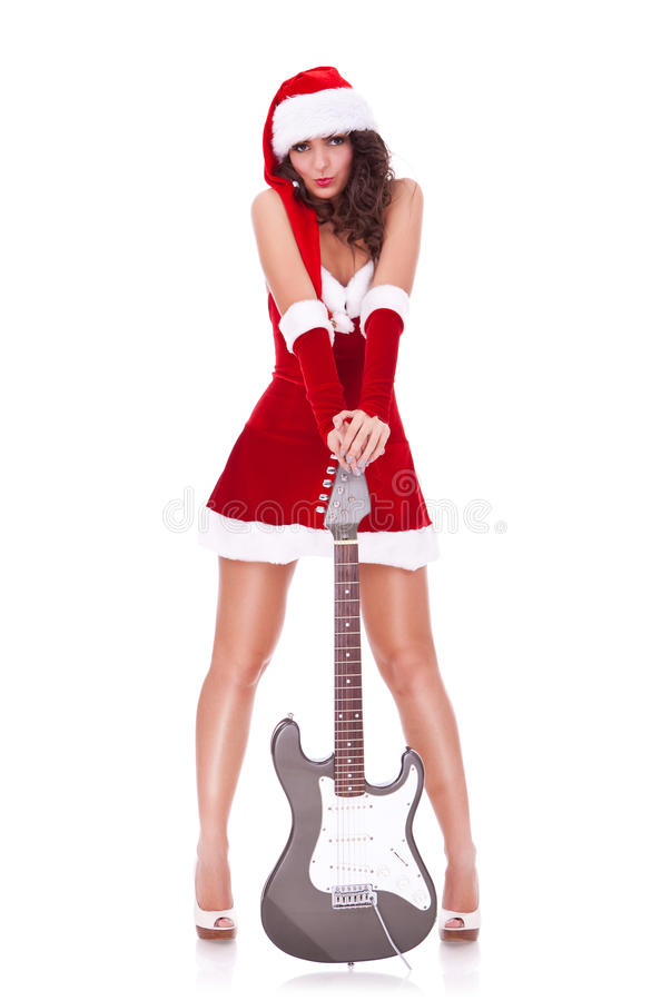 Free Young Santa Woman With Guitar Stock Photos - 26964353