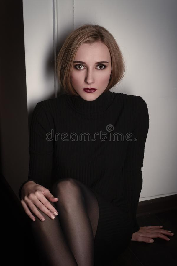 Young scared woman stock photo
