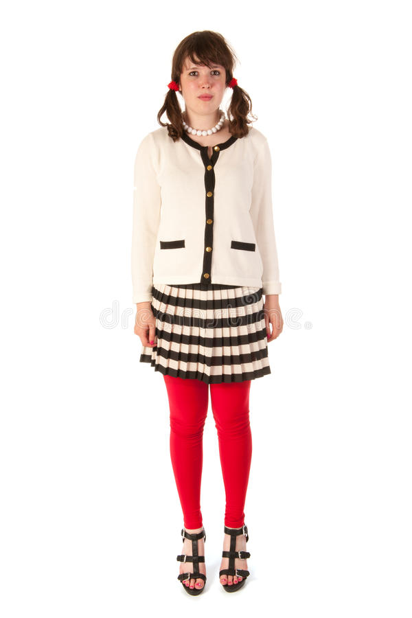 Download Young school girl stock photo. Image of skirt, teen, long - 26459146