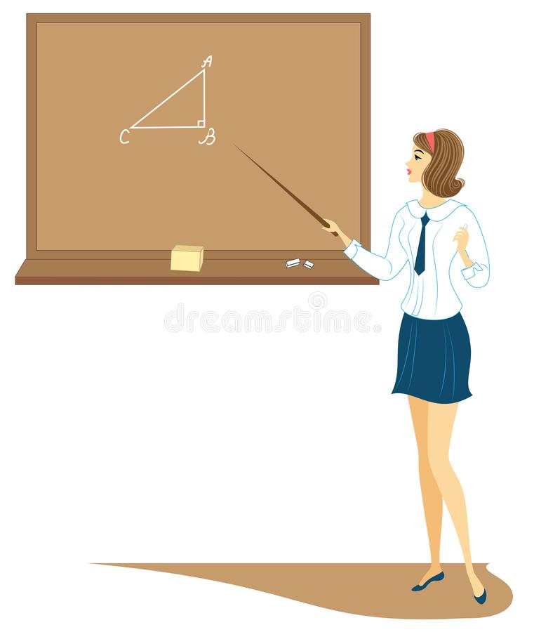 Young schoolgirl in class. The girl is standing near the blackboard and is telling the assignment. The lady is very nice. Vector royalty free illustration
