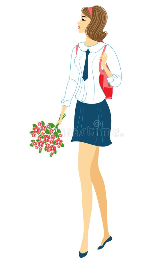 A young schoolgirl goes to school. The girl is very nice, she has a good mood, a smile. The lady carries a bouquet of flowers and vector illustration