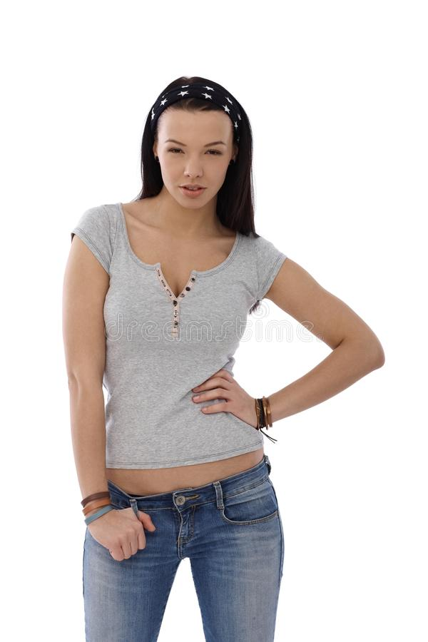 Download Young Schoolgirl Posing In Jeans And T-shirt Stock Image - Image of highschool, hairband: 25341017