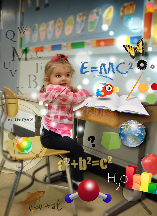 Download Young Science Math Girl At School Learning Stock Photo - Image of brilliant, numbers: 24206186