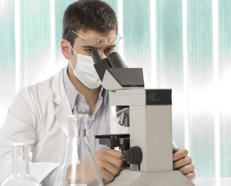 Young scientist discovering something stock image