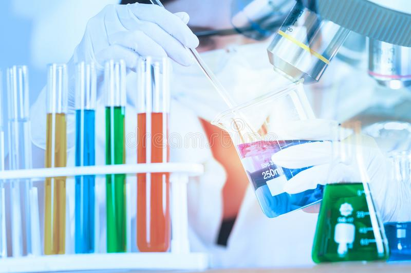 Young Scientist looking at test tube in the laboratory. royalty free stock photos